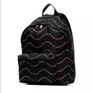 Givenchy Wave Logo Printed Backpack Black & White